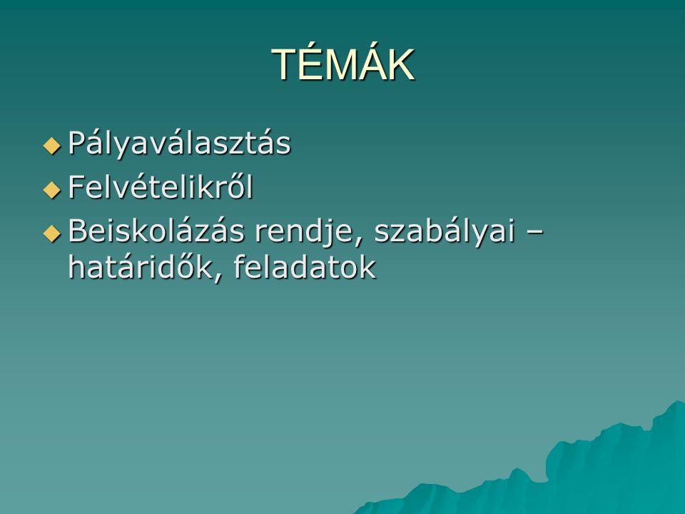 ÁLTALÁNOS FELVÉTELI ELJÁRÁS 2011.01. 21-TŐL EGYSÉGES ÍRÁSBELI FELVÉTELIK IDEJE:  Január 2 1.