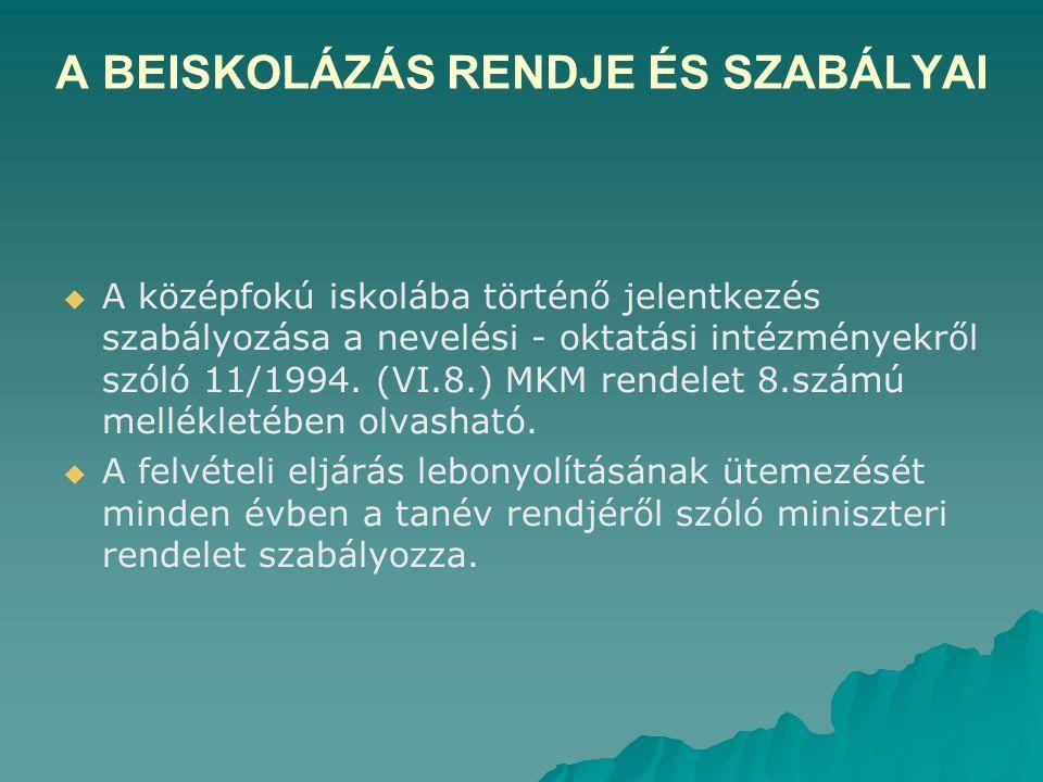 A BEISKOLÁZÁS RENDJE ÉS SZABÁLYAI   A középfokú iskolába történő jelentkezés szabályozása a nevelési - oktatási intézményekről szóló 11/1994.