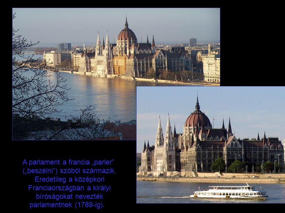 """A parlament a francia """"parler (""""beszélni ) szóból származik."""