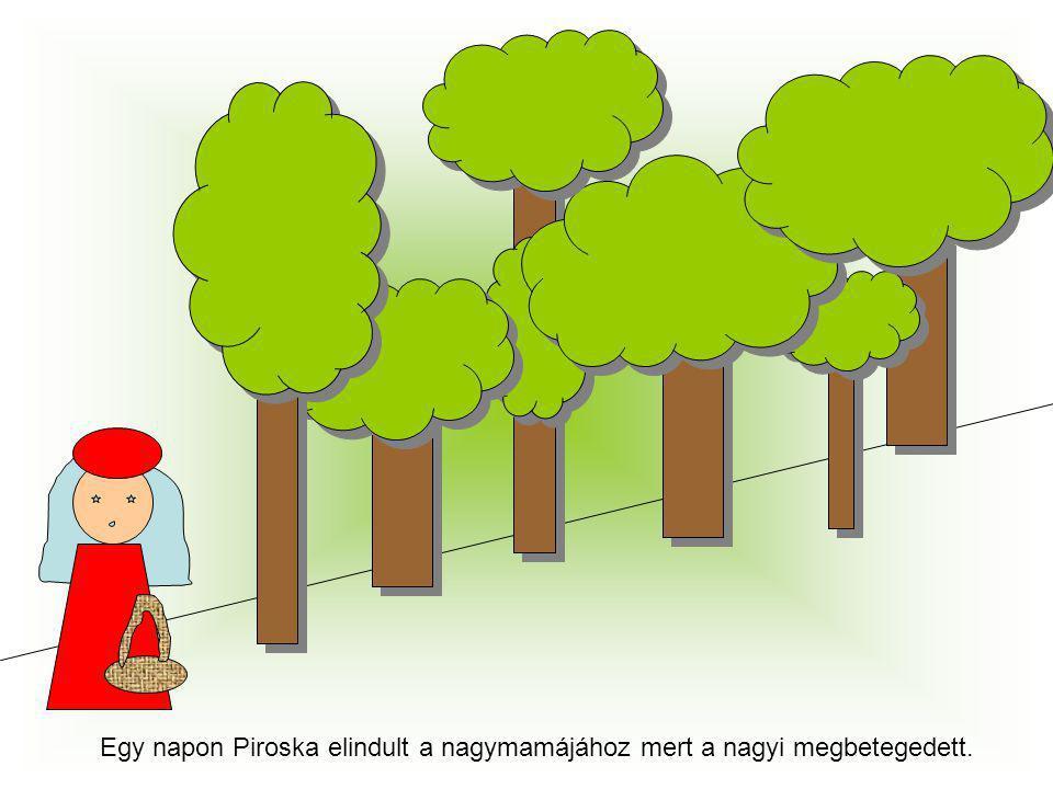 Egy napon Piroska elindult a nagymamájához mert a nagyi megbetegedett.