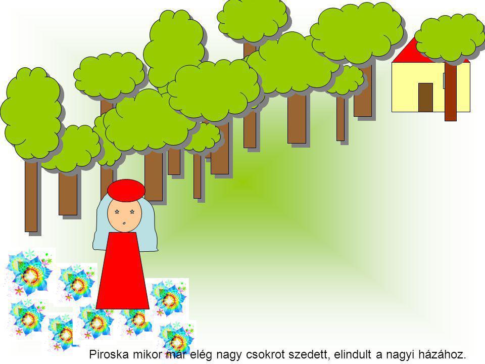 Piroska mikor már elég nagy csokrot szedett, elindult a nagyi házához.