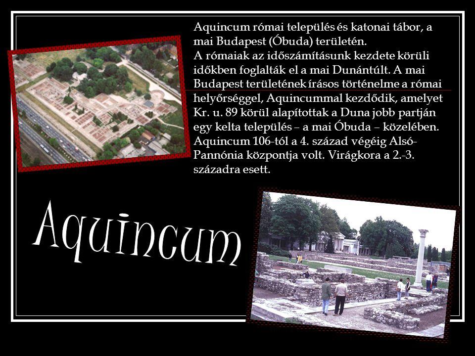 Aquincum római település és katonai tábor, a mai Budapest (Óbuda) területén. A rómaiak az időszámításunk kezdete körüli időkben foglalták el a mai Dun