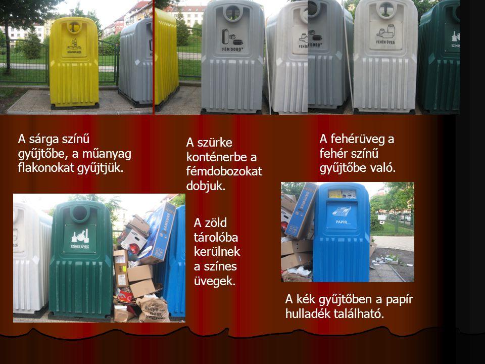 A sárga színű gyűjtőbe, a műanyag flakonokat gyűjtjük. A szürke konténerbe a fémdobozokat dobjuk. A fehérüveg a fehér színű gyűjtőbe való. A zöld táro