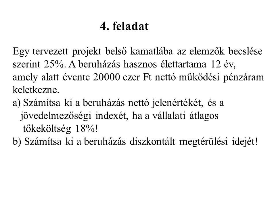 4. feladat Egy tervezett projekt belső kamatlába az elemzők becslése szerint 25%. A beruházás hasznos élettartama 12 év, amely alatt évente 20000 ezer
