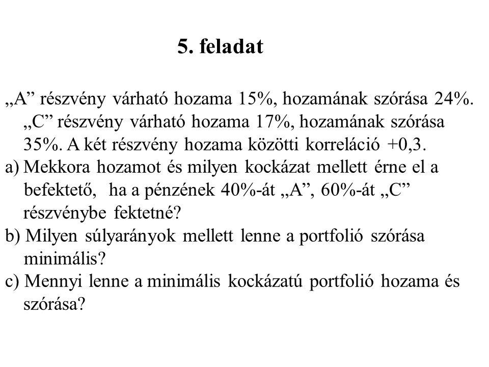 """5. feladat """"A"""" részvény várható hozama 15%, hozamának szórása 24%. """"C"""" részvény várható hozama 17%, hozamának szórása 35%. A két részvény hozama közöt"""