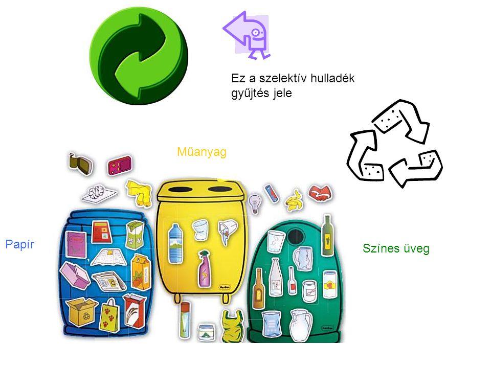 Ez a szelektív hulladék gyűjtés jele Színes üveg Műanyag Papír