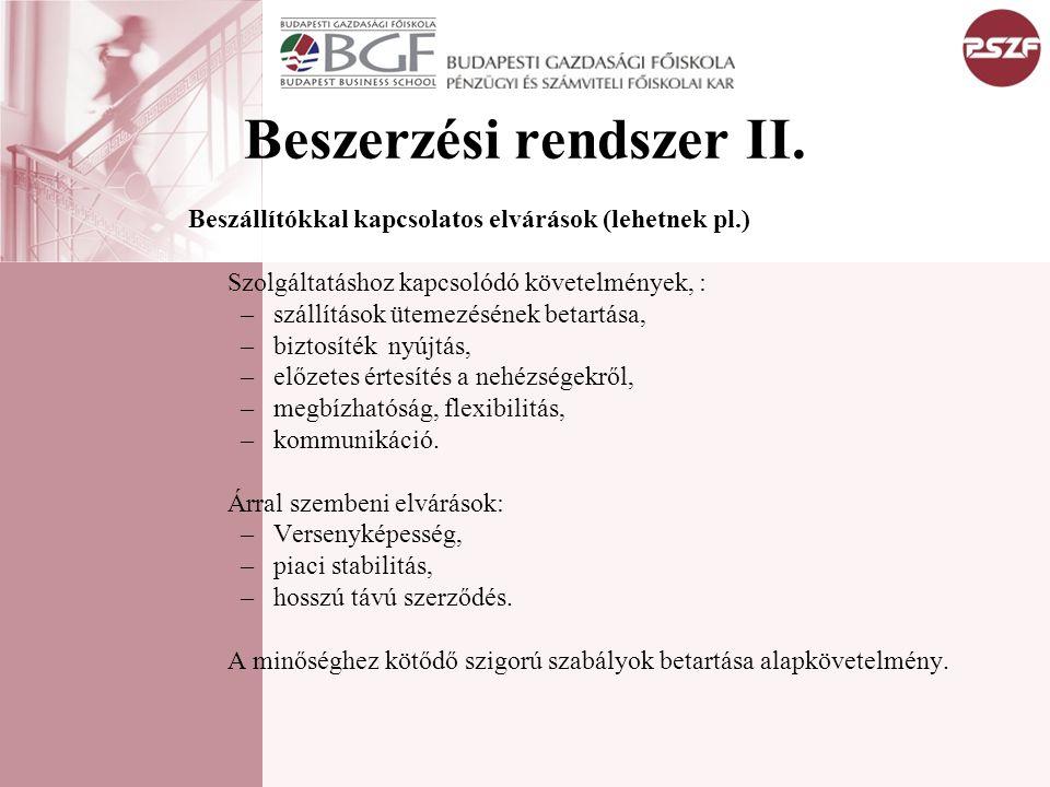 Beszerzési rendszer II. Beszállítókkal kapcsolatos elvárások (lehetnek pl.) Szolgáltatáshoz kapcsolódó követelmények, : –szállítások ütemezésének beta