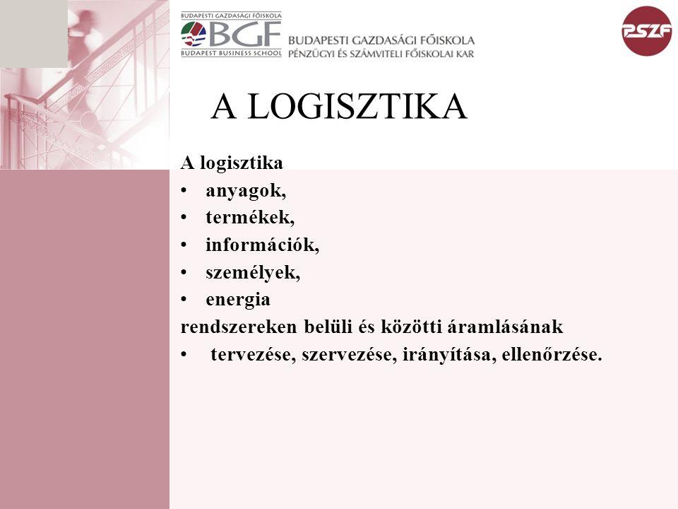 A LOGISZTIKA A logisztika anyagok, termékek, információk, személyek, energia rendszereken belüli és közötti áramlásának tervezése, szervezése, irányít