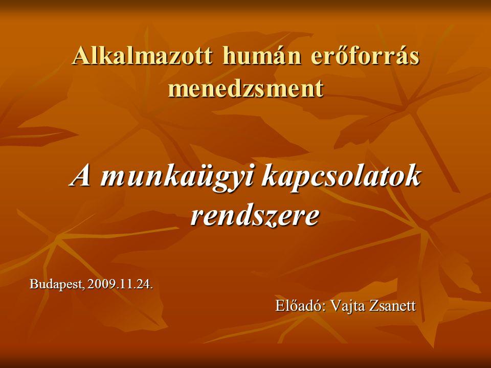 Alkalmazott humán erőforrás menedzsment A munkaügyi kapcsolatok rendszere Budapest, 2009.11.24. Előadó: Vajta Zsanett