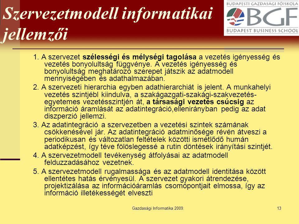 Gazdasági Informatika 2009.13 Szervezetmodell informatikai jellemzői 1. A szervezet szélességi és mélységi tagolása a vezetés igényesség és vezetés bo