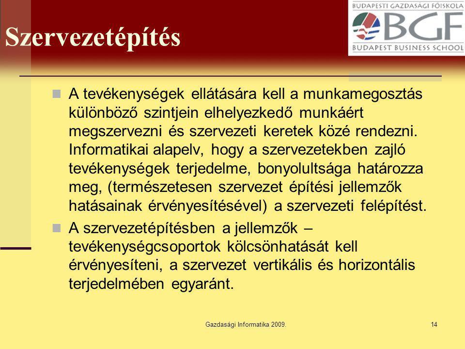 Gazdasági Informatika 2009.14 Szervezetépítés A tevékenységek ellátására kell a munkamegosztás különböző szintjein elhelyezkedő munkáért megszervezni