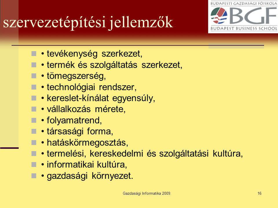 Gazdasági Informatika 2009.16 szervezetépítési jellemzők tevékenység szerkezet, termék és szolgáltatás szerkezet, tömegszerség, technológiai rendszer,