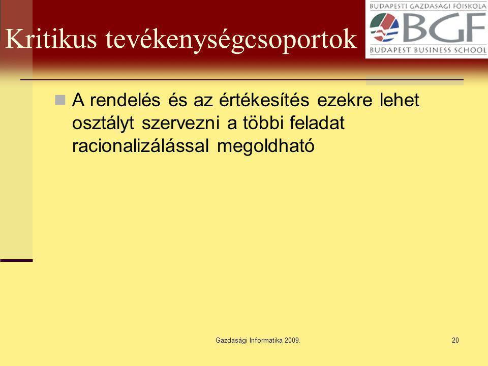 Gazdasági Informatika 2009.20 Kritikus tevékenységcsoportok A rendelés és az értékesítés ezekre lehet osztályt szervezni a többi feladat racionalizálá