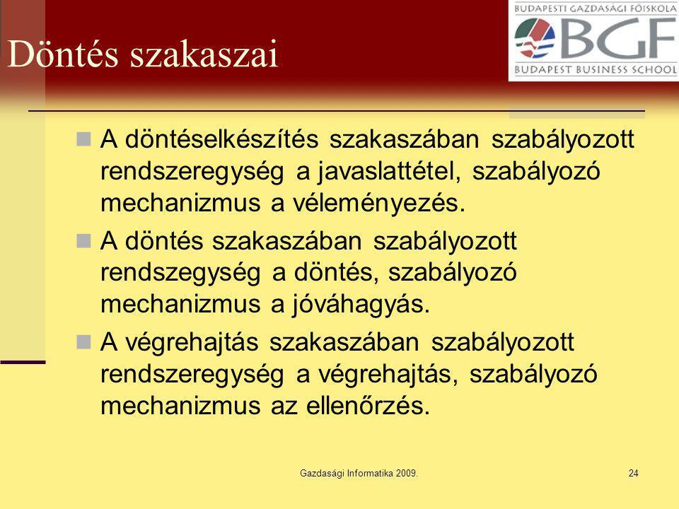 Gazdasági Informatika 2009.24 Döntés szakaszai A döntéselkészítés szakaszában szabályozott rendszeregység a javaslattétel, szabályozó mechanizmus a vé