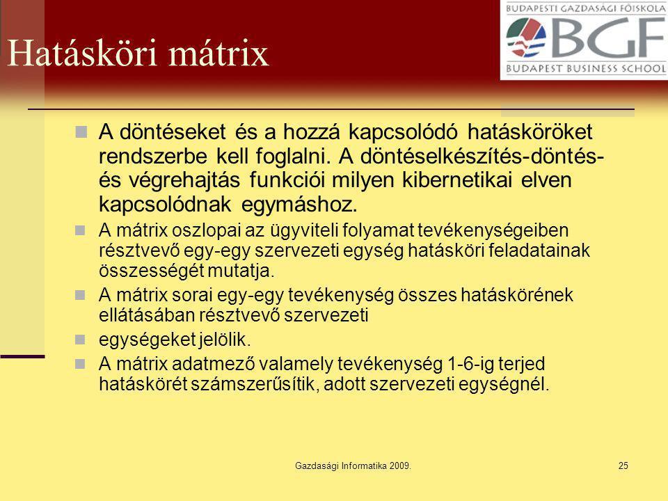 Gazdasági Informatika 2009.25 Hatásköri mátrix A döntéseket és a hozzá kapcsolódó hatásköröket rendszerbe kell foglalni. A döntéselkészítés-döntés- és