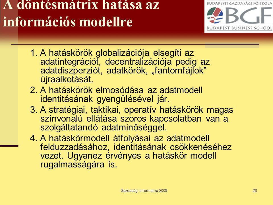 Gazdasági Informatika 2009.26 A döntésmátrix hatása az információs modellre 1. A hatáskörök globalizációja elsegíti az adatintegrációt, decentralizáci