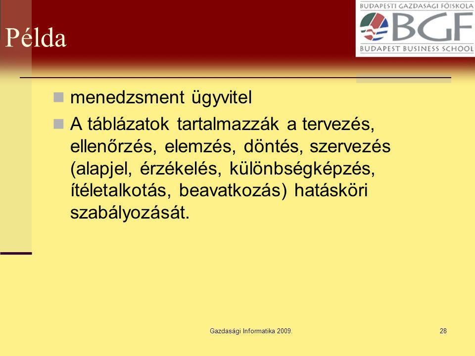 Gazdasági Informatika 2009.28 Példa menedzsment ügyvitel A táblázatok tartalmazzák a tervezés, ellenőrzés, elemzés, döntés, szervezés (alapjel, érzéke