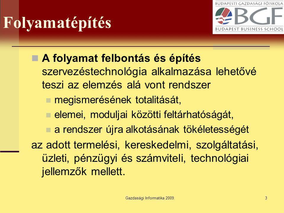 Gazdasági Informatika 2009.3 Folyamatépítés A folyamat felbontás és építés szervezéstechnológia alkalmazása lehetővé teszi az elemzés alá vont rendsze
