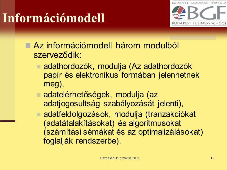 Gazdasági Informatika 2009.36 Információmodell Az információmodell három modulból szerveződik: adathordozók, modulja (Az adathordozók papír és elektro