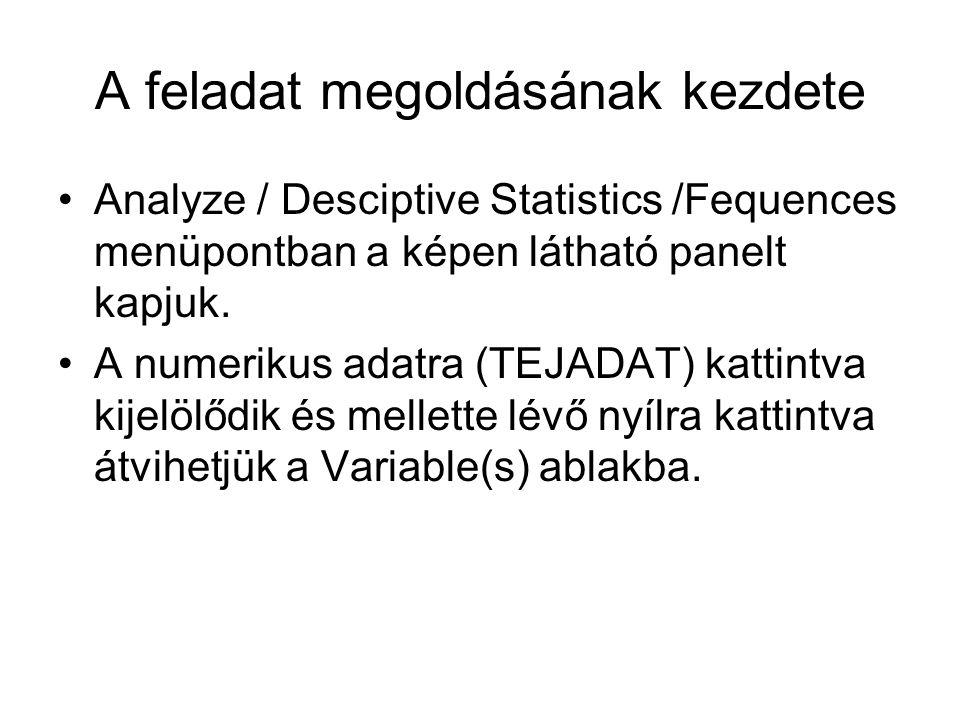 A feladat megoldásának kezdete Analyze / Desciptive Statistics /Fequences menüpontban a képen látható panelt kapjuk.