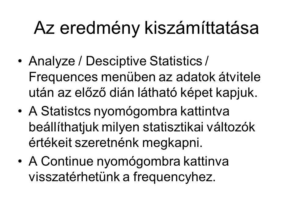 Az eredmény kiszámíttatása Analyze / Desciptive Statistics / Frequences menüben az adatok átvitele után az előző dián látható képet kapjuk.