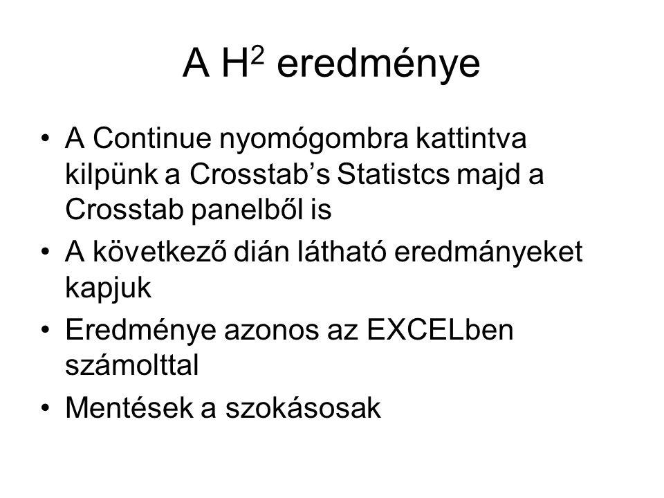 A H 2 eredménye A Continue nyomógombra kattintva kilpünk a Crosstab's Statistcs majd a Crosstab panelből is A következő dián látható eredmányeket kapjuk Eredménye azonos az EXCELben számolttal Mentések a szokásosak