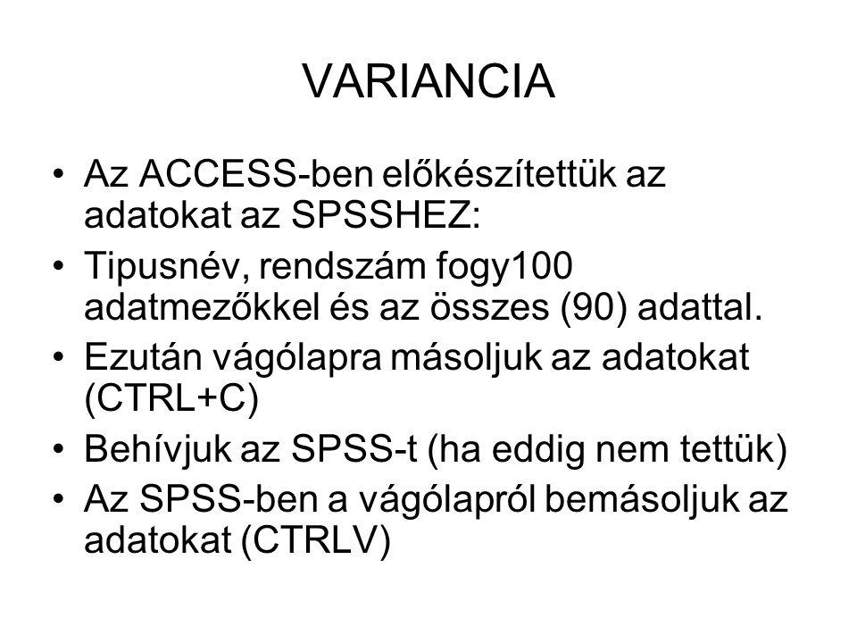VARIANCIA Az ACCESS-ben előkészítettük az adatokat az SPSSHEZ: Tipusnév, rendszám fogy100 adatmezőkkel és az összes (90) adattal.