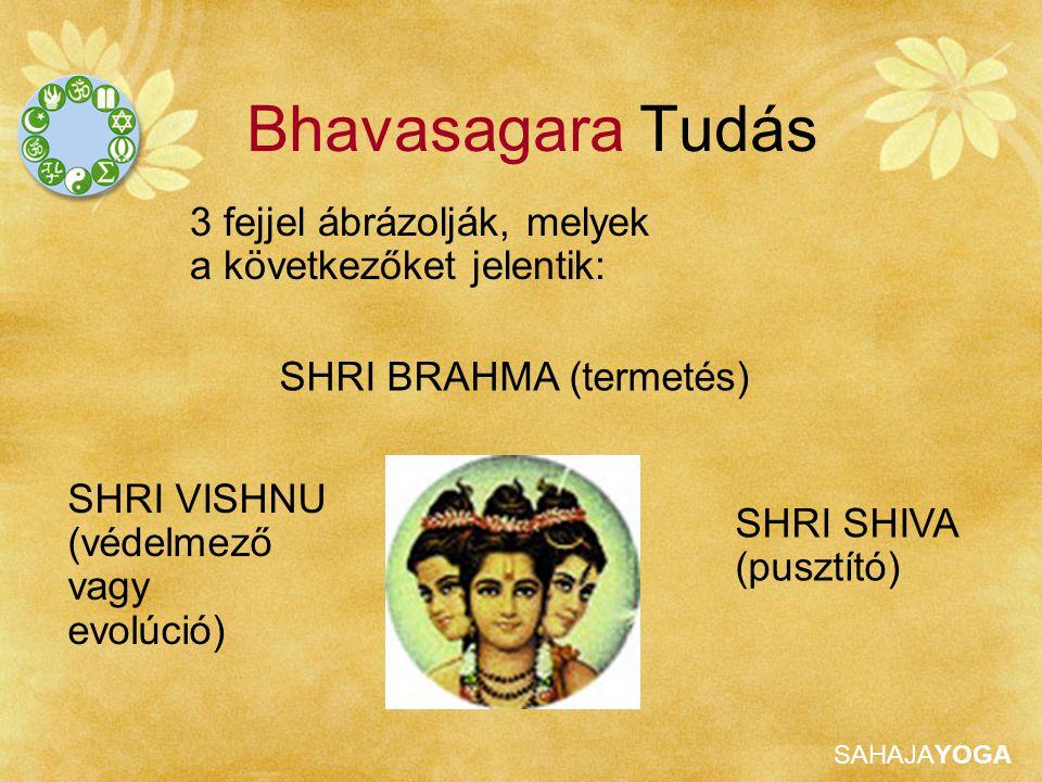 SAHAJAYOGA Bhavasagara Tudás 3 fejjel ábrázolják, melyek a következőket jelentik: SHRI BRAHMA (termetés) SHRI VISHNU (védelmező vagy evolúció) SHRI SH