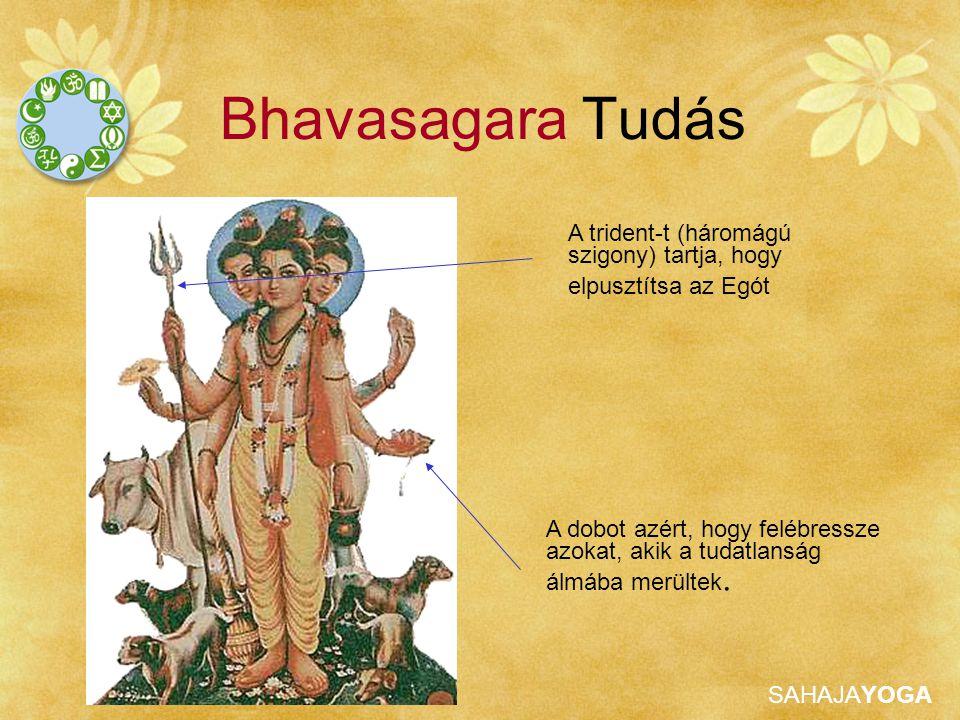 SAHAJAYOGA Bhavasagara Tudás A dobot azért, hogy felébressze azokat, akik a tudatlanság álmába merültek. A trident-t (háromágú szigony) tartja, hogy e