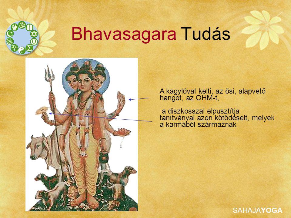 SAHAJAYOGA Bhavasagara Tudás A kagylóval kelti, az ősi, alapvető hangot, az OHM-t, a diszkosszal elpusztítja tanítványai azon kötődéseit, melyek a kar