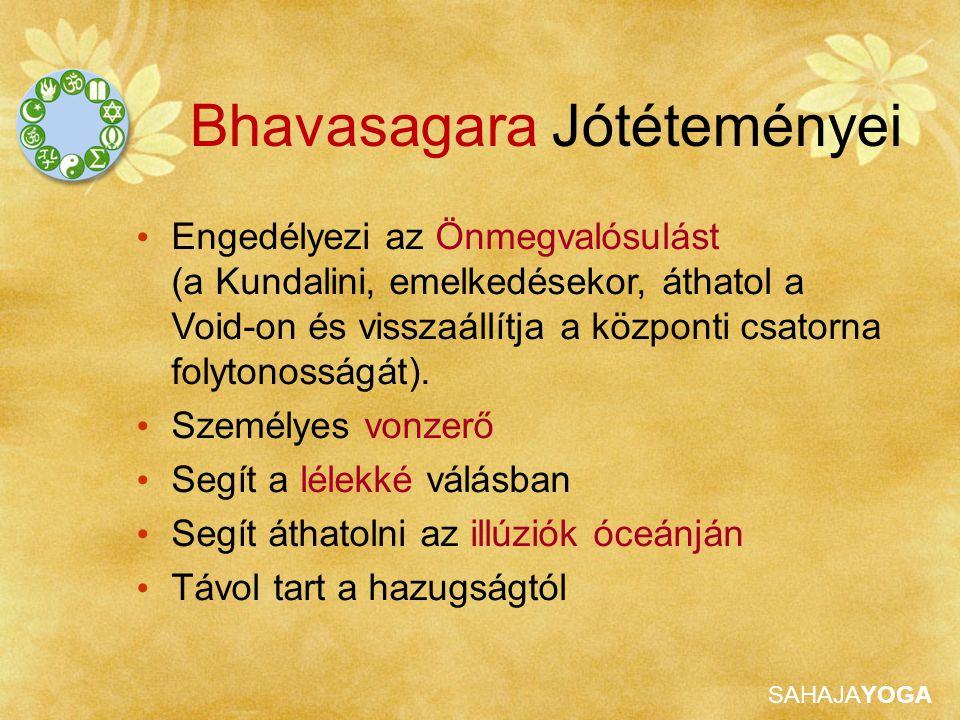 SAHAJAYOGA Bhavasagara Jótéteményei Engedélyezi az Önmegvalósulást (a Kundalini, emelkedésekor, áthatol a Void-on és visszaállítja a központi csatorna