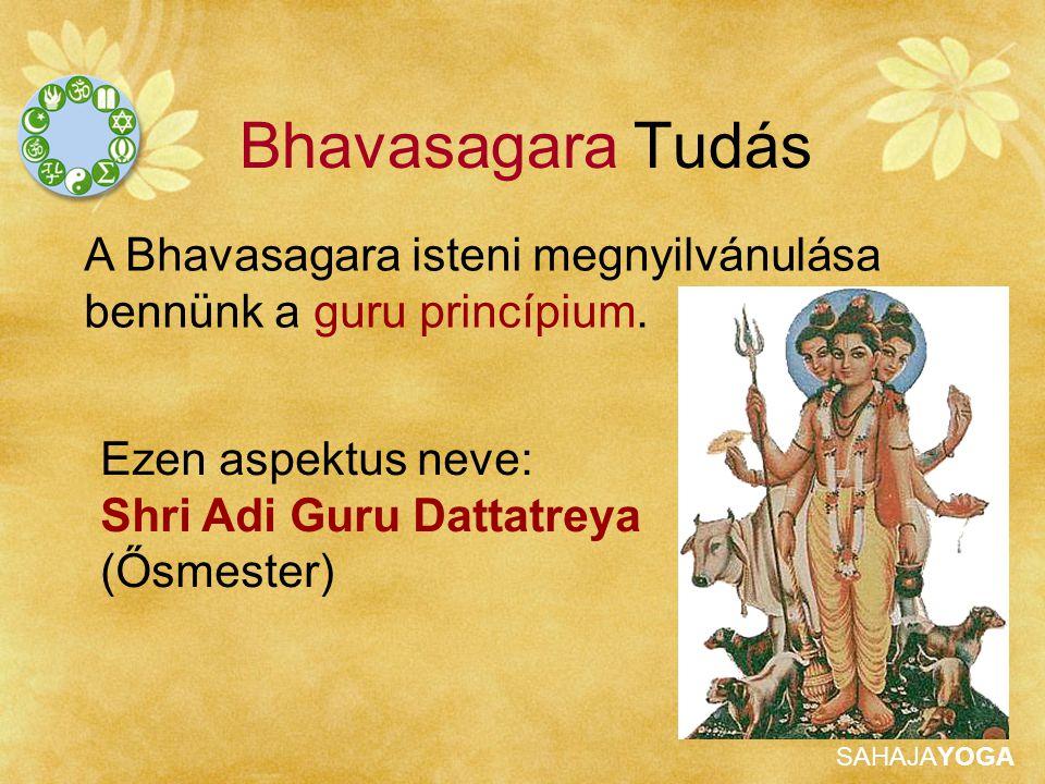 SAHAJAYOGA Bhavasagara Tudás 3 fejjel ábrázolják, melyek a következőket jelentik: SHRI BRAHMA (termetés) SHRI VISHNU (védelmező vagy evolúció) SHRI SHIVA (pusztító)