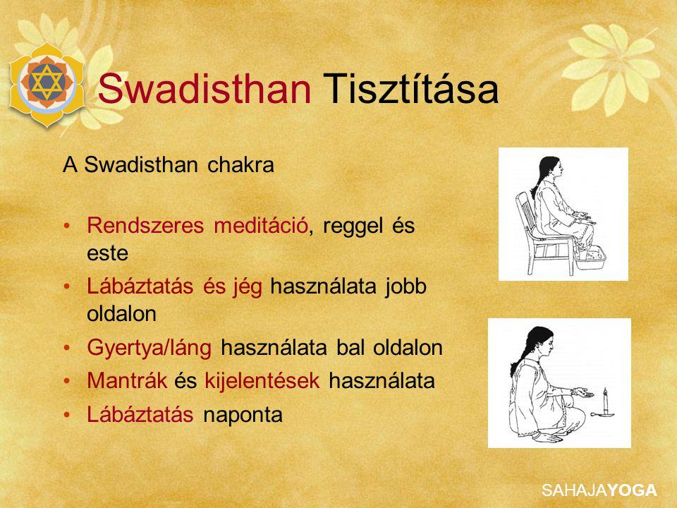SAHAJAYOGA A Swadisthan chakra Rendszeres meditáció, reggel és este Lábáztatás és jég használata jobb oldalon Gyertya/láng használata bal oldalon Mant