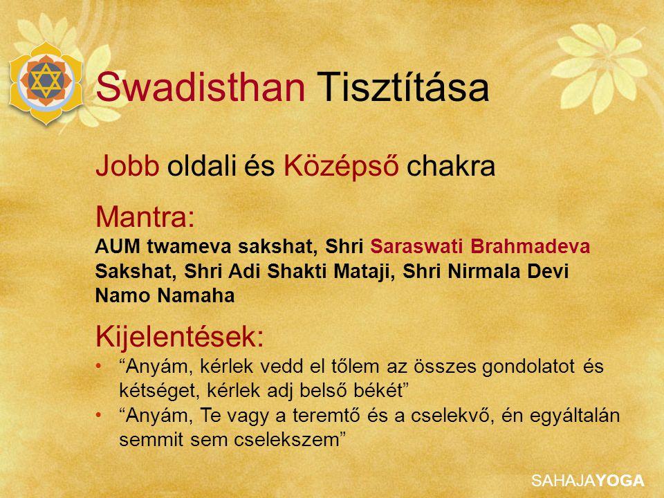 SAHAJAYOGA Jobb oldali és Középső chakra Mantra: AUM twameva sakshat, Shri Saraswati Brahmadeva Sakshat, Shri Adi Shakti Mataji, Shri Nirmala Devi Nam