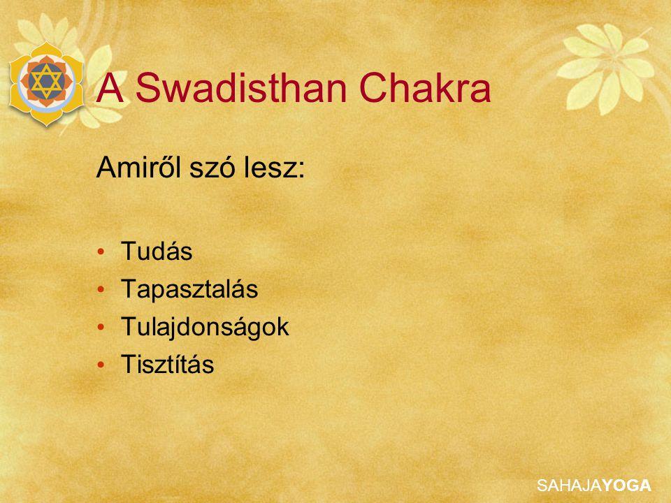 SAHAJAYOGA Swadisthan Tudás Keresztcsont fölött található Helye a kézen: Hüvelyk ujj
