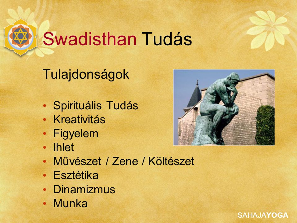SAHAJAYOGA Az aspektus nevei Shri Saraswati Brahmadeva Shri Nirmala Vidya Swadisthan Tudás A Swadistan chakra isteni megnyilvánulása a tiszta (isteni) tudás és az ihlet