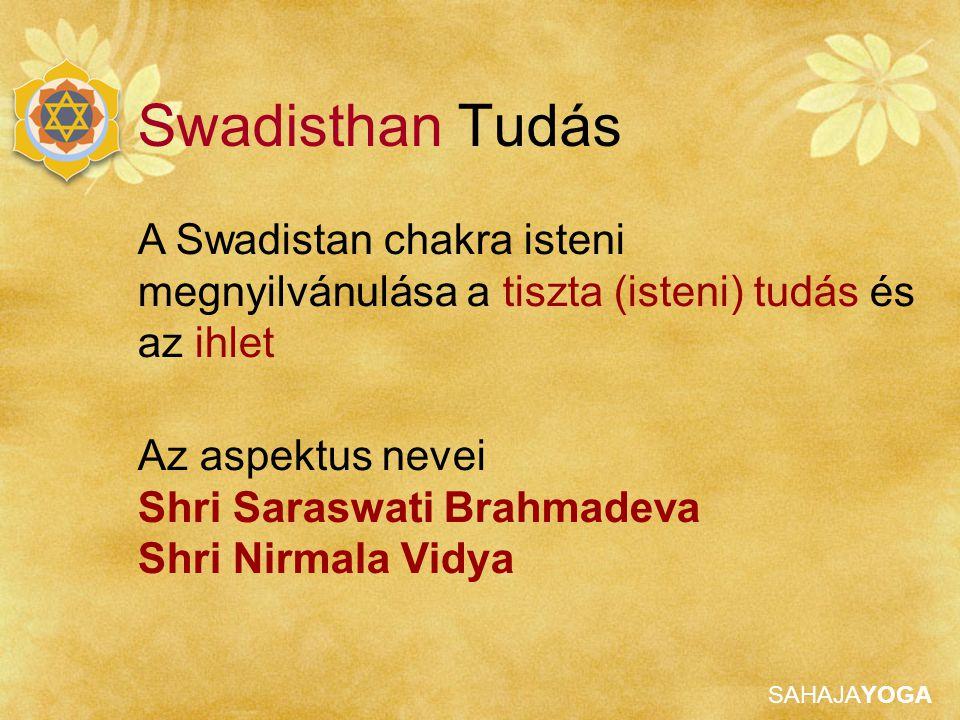 SAHAJAYOGA Jobb oldali és Középső chakra Mantra: AUM twameva sakshat, Shri Saraswati Brahmadeva Sakshat, Shri Adi Shakti Mataji, Shri Nirmala Devi Namo Namaha Kijelentések: Anyám, kérlek vedd el tőlem az összes gondolatot és kétséget, kérlek adj belső békét Anyám, Te vagy a teremtő és a cselekvő, én egyáltalán semmit sem cselekszem Swadisthan Tisztítása