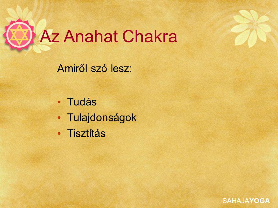 SAHAJAYOGA Anahat Tisztítása Bal szív chakra Mantra: Shri Shiva Parvati vagy Shri Nirmala Atma Shiva Kijelentés: Anyám, én a Lélek vagyok vagy Csak a tiszta Lélek vagyok, csak a Szellem, nem az Ego, nem ez a test, nem az érzések, sem a fájdalom, csak a tiszta Lélek vagyok Adjunk vibrációkat a chakrának Ha a bal szív bezárul a túlzott jobb oldali aktivitás miatt, emeljük fel a bal oldalt és nyomjuk le a jobbat 108-szor, majd tartsuk a jobb kezünket a fénykép irányába, a bal tenyerünket pedig emeljük az ég (mennyezet) felé.