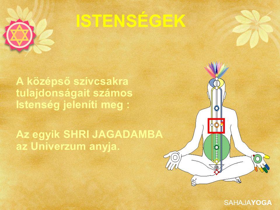 SAHAJAYOGA A középső szívcsakra tulajdonságait számos Istenség jeleníti meg : Az egyik SHRI JAGADAMBA az Univerzum anyja. ISTENSÉGEK