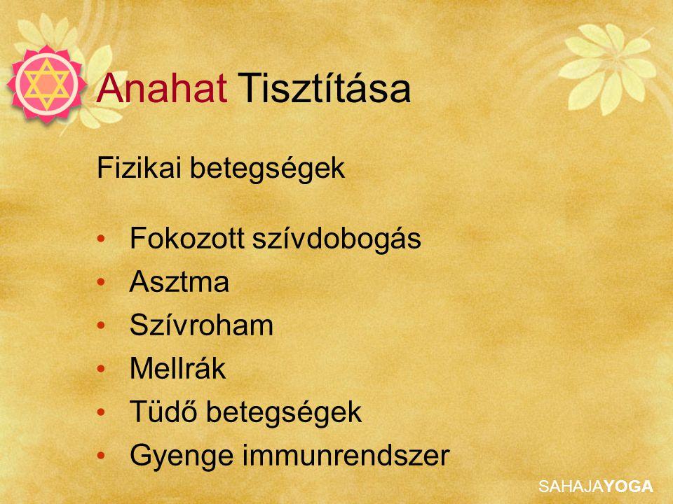 SAHAJAYOGA Fizikai betegségek Anahat Tisztítása Fokozott szívdobogás Asztma Szívroham Mellrák Tüdő betegségek Gyenge immunrendszer