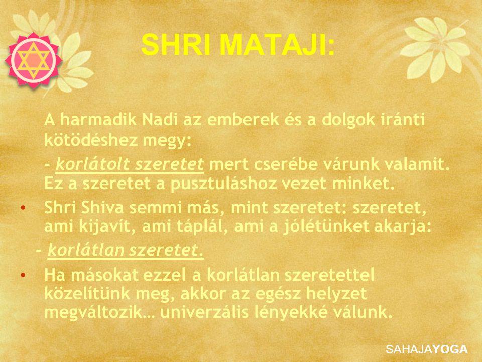 SAHAJAYOGA SHRI MATAJI: A harmadik Nadi az emberek és a dolgok iránti kötödéshez megy: - korlátolt szeretet mert cserébe várunk valamit. Ez a szeretet