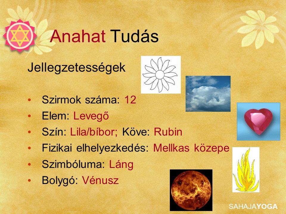 SAHAJAYOGA Jellegzetességek Szirmok száma: 12 Elem: Levegő Szín: Lila/bíbor; Köve: Rubin Fizikai elhelyezkedés: Mellkas közepe Szimbóluma: Láng Bolygó