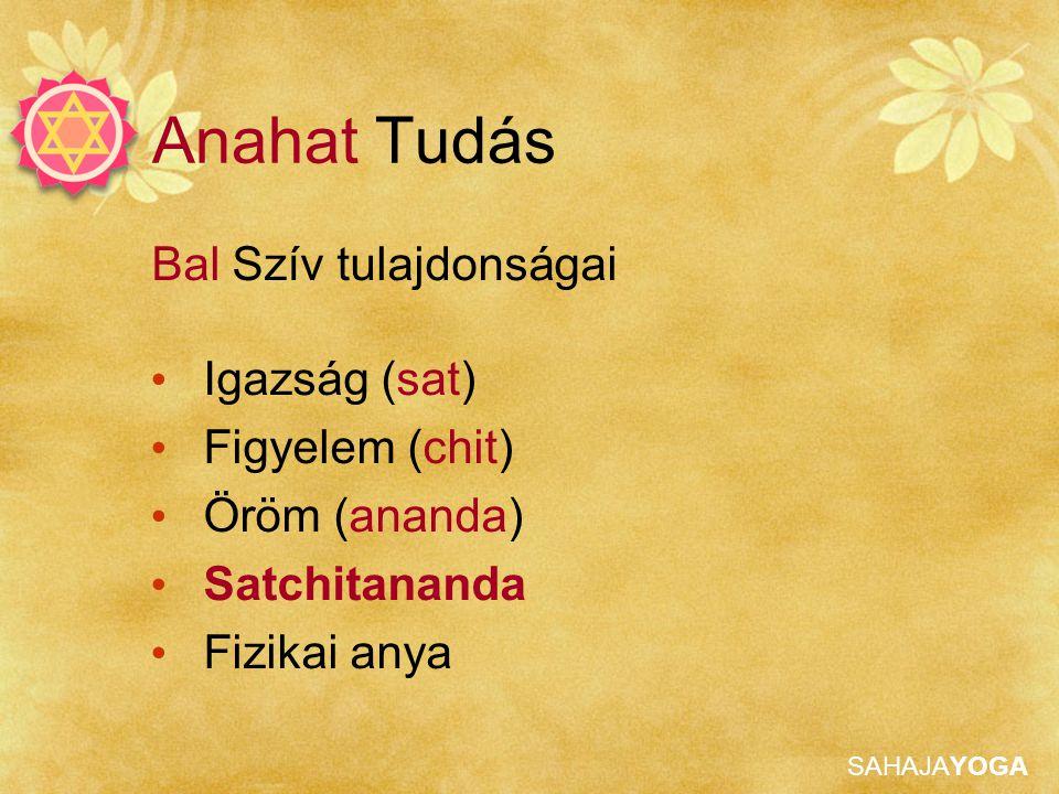 SAHAJAYOGA Anahat Tudás Bal Szív tulajdonságai Igazság (sat) Figyelem (chit) Öröm (ananda) Satchitananda Fizikai anya