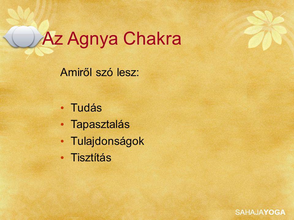 SAHAJAYOGA Az Agnya Chakra, amit néha harmadik szemként említenek, az agyunk középső részén található, és az emberiség fejlődésének a hatodik szintjét képviseli. Shri Mataji Nirmala Devi Agnya Tudás