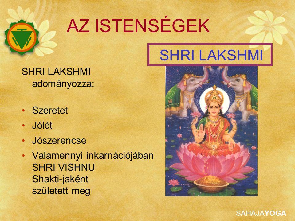 SAHAJAYOGA AZ ISTENSÉGEK SHRI LAKSHMI adományozza: Szeretet Jólét Jószerencse Valamennyi inkarnációjában SHRI VISHNU Shakti-jaként született meg SHRI