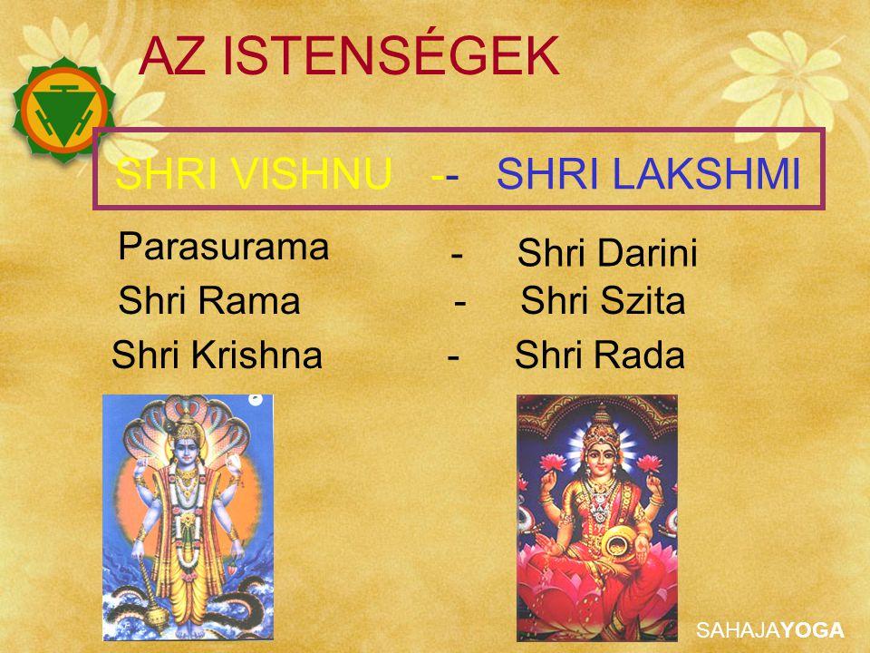 SAHAJAYOGA AZ ISTENSÉGEK Parasurama Shri Rama - Shri Szita SHRI VISHNU -- SHRI LAKSHMI Shri Krishna - Shri Rada - Shri Darini
