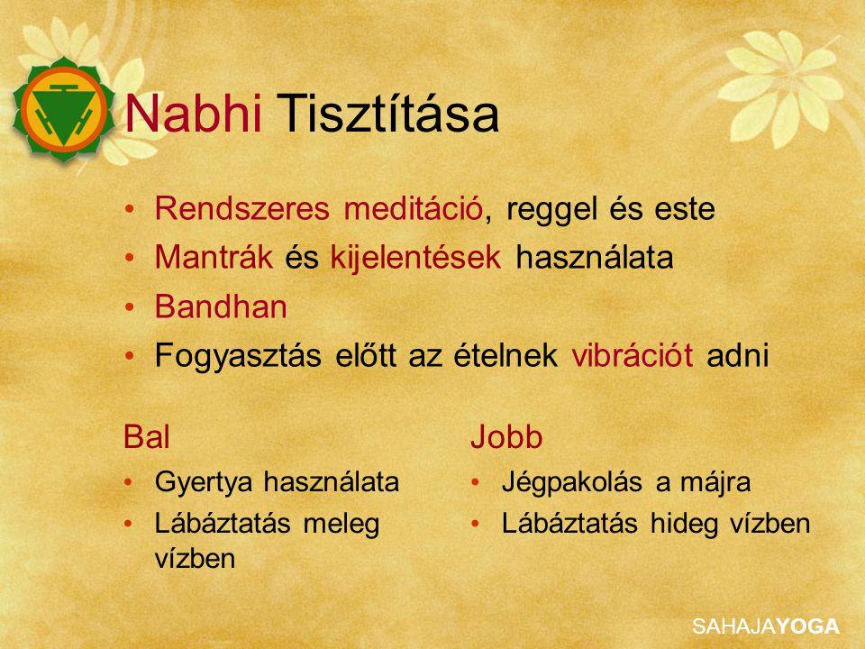 SAHAJAYOGA Rendszeres meditáció, reggel és este Mantrák és kijelentések használata Bandhan Fogyasztás előtt az ételnek vibrációt adni Bal Gyertya hasz