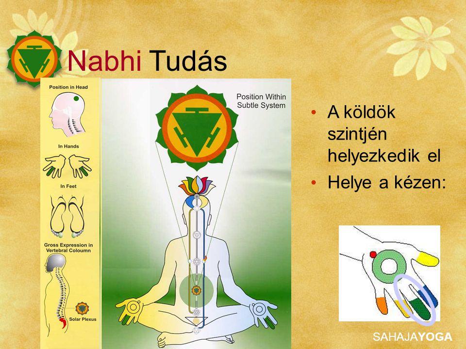 SAHAJAYOGA A köldök szintjén helyezkedik el Helye a kézen: Nabhi Tudás