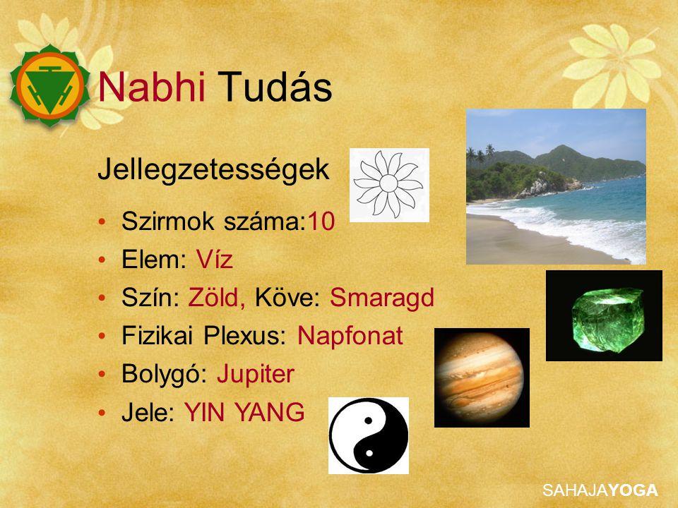 SAHAJAYOGA Jellegzetességek Szirmok száma:10 Elem: Víz Szín: Zöld, Köve: Smaragd Fizikai Plexus: Napfonat Bolygó: Jupiter Jele: YIN YANG Nabhi Tudás