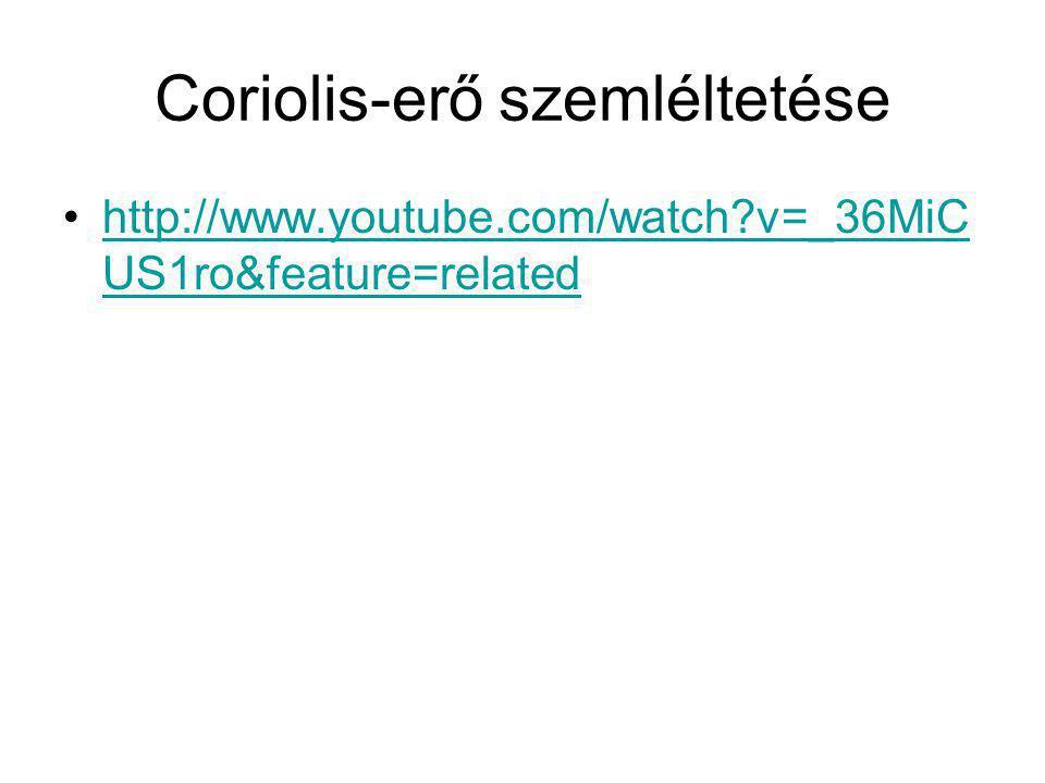 Coriolis-erő szemléltetése http://www.youtube.com/watch?v=_36MiC US1ro&feature=relatedhttp://www.youtube.com/watch?v=_36MiC US1ro&feature=related